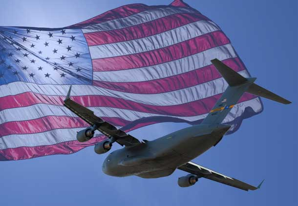 US Flag and C-17